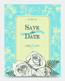 Romantic floral card with vintage roses. Stock Images