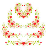 Romantic floral decorative elements with hearts Stock Photography