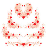 Romantic floral decorative elements with hearts Royalty Free Stock Images