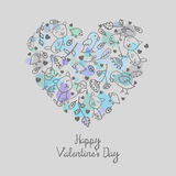 Romantic floral  doodle heart with splash background Royalty Free Stock Photography