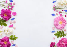 Romantic floral flat lay witj emty spase Royalty Free Stock Photo