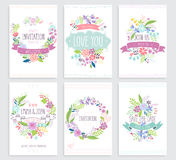 Romantic Floral hand drawn card set. Royalty Free Stock Images