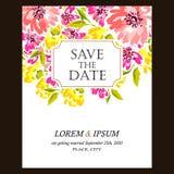 Romantic floral invitation Stock Photos