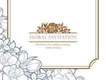 Romantic floral invitation Stock Photo
