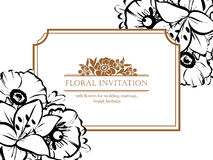 Romantic floral invitation Royalty Free Stock Photos