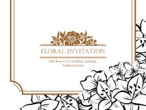 Romantic floral invitation Stock Images
