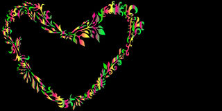 Romantic floral love heart  psychedelic frame  background grass Stock Image