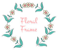 Romantic floral round frame Stock Photo
