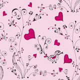 Romantic floral seamless with hearts Stock Photos
