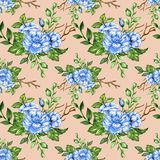 Romantic floral seamless  pattern bouquet rose blue flowers and. Seamless  pattern bouquet rose blue flowers and plant watercolor gouache hand draw Romantic Stock Images
