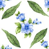 Romantic floral seamless  pattern bouquet rose blue flowers and. Seamless  pattern bouquet rose blue flowers and plant watercolor gouache hand draw Romantic Stock Image