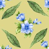 Romantic floral seamless  pattern bouquet rose blue flowers and. Seamless  pattern bouquet rose blue flowers and plant watercolor gouache hand draw Romantic Royalty Free Stock Photos