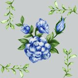 Romantic floral seamless  pattern bouquet rose blue flowers and. Seamless  pattern bouquet rose blue flowers and plant watercolor gouache hand draw Romantic Royalty Free Stock Images