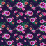 Romantic floral seamless pattern with rose flowers and leaf. Print for textile wallpaper endless. Hand-drawn watercolor Royalty Free Stock Image