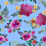 Romantic floral seamless pattern with rose flowers and leaf. Print for textile wallpaper endless. Hand-drawn watercolor Royalty Free Stock Photography
