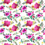 Romantic floral seamless pattern with rose flowers and leaf. Print for textile wallpaper endless. Hand-drawn watercolor Royalty Free Stock Photo