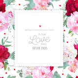 Romantic floral square vector design frame with peony, alstroemeria lily, mint eucaliptus on white. Royalty Free Stock Images