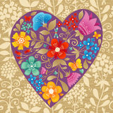 Romantic floral wallpaper with heart. Stock Photos