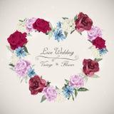 Romantic floral wedding invitation design Royalty Free Stock Photos