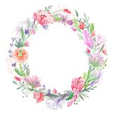 Romantic Floral Wreath Frame Royalty Free Stock Photo