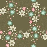 Romantic floral wreath pattern on dark Royalty Free Stock Photography