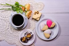 Romantic flower and coffee background with sweet hearts royalty free stock photo