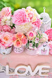 Romantic flower decoration for wedding Royalty Free Stock Photography