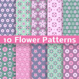 Romantic flower different vector seamless patterns. 10 Romantic flower different vector seamless patterns (tiling). Pink, green and blue colors. Endless texture stock illustration