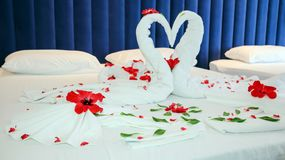 Romantic Flower Petal Arrangement on a Hotel Bed. Towels Arranged as Swans In A Luxury Hotel royalty free stock photography