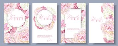 Romantic flowers banner set. Vector botanical banners set with pink peony and white hydrangea flowers. Romantic design for natural cosmetics, perfume, women royalty free illustration