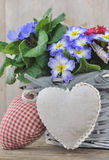 Romantic flowers basket Stock Photo