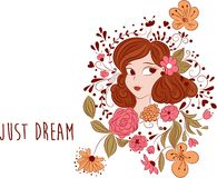 Romantic flowers and cartoon girl. Just dream message. vector illustration