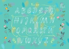 Romantic flowers cipher text. You are my flower. Artistic alphabet with encrypted romantic message You are my flower. White letters with drawing effect. Green Royalty Free Stock Images
