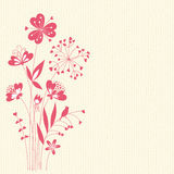 Romantic Flowers. Floral card with seamless background.  Vector illustration Royalty Free Stock Images