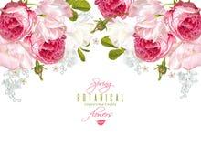 Romantic flowers horizontal banner vector illustration
