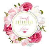 Romantic flowers round banner Stock Images
