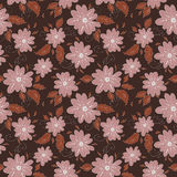 Romantic flowers seamless pattern. Dark backdrop Royalty Free Stock Photography