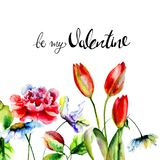 Romantic flowers with title be my Valentine. Watercolor illustration, card template for birthday, wedding and other holiday Stock Image