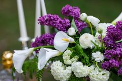 Romantic flowers from wedding decor with Lilac.  Royalty Free Stock Photo