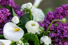 Romantic flowers from wedding decor with Lilac.  Royalty Free Stock Photos