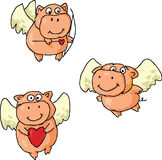 Romantic flying pigs Stock Photography