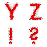 Romantic font. Letters Y, Z, query mark and exclamation point of paper hearts Stock Photo