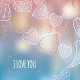 Romantic frame with hand drawn white and golden hearts. On blurred background. Great for Saint Valentine's Day cards and holiday design Royalty Free Stock Image
