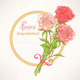 Romantic frame with roses Royalty Free Stock Photos