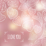 Romantic frame with  white hearts on blurred pink. Romantic frame with hand drawn white hearts on blurred pink background. Great for Saint Valentine's Day cards Royalty Free Stock Photos