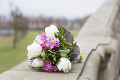 Romantic fresh wedding bouquet on background of green park Royalty Free Stock Images