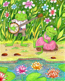 Romantic Frogs. Colorful illustration of a pond with a frog playing the banjo to his girlfriend Royalty Free Stock Images