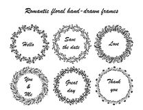 Romantic froral hand-drown frames Royalty Free Stock Image