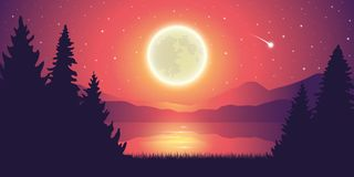 Romantic full moon and falling stars by the lake landscape stock illustration