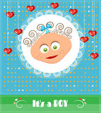 Romantic, funny, dotted, blue, baby shower, card Stock Image
